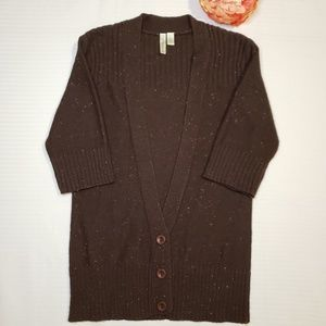 Susina > 3/4 Sleeve Brown Button-up Cardigan